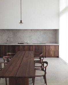 The most amazing kitchen dark wood concrete black and white Hans Verstuyft Architect Belgium