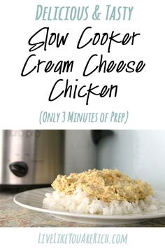 Crockpot cream cheese chicken, family and kid favorite for over 15 years. Prepped in 3 minutes.