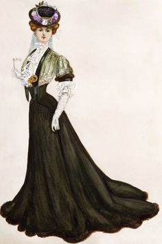 """Some of Lucile's titles for her gown may have gone slightly overboard on dramatics. This 1905 ensemble is called """"The Tender Grace of the Da..."""