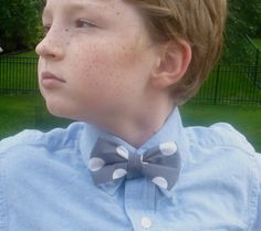 Grey Quarter Dot Boy's Bow Tie by DivineDomestication on Etsy