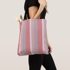 #Pink and Silver Striped Tote Bag - #elegant #gifts #stylish #giftideas #custom