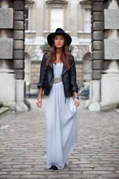 leather jacket, Chiffon maxi dress and hat