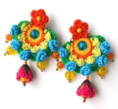 Your place to buy and sell all things handmade Crochet Bracelet, Crochet Earrings, Crochet Jewellery, Boho Jewellery, Crochet Flower Patterns, Crochet Flowers, Funky Earrings, Round Earrings, Green Earrings