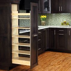 Features:  -Includes: 1 Wood organizer, 5 adjustable shelves with chrome rails and mounting hardware.  -450 lbs Full extension soft close slide system.  -Pull out wood tall pantry cabinet.  -Adjustabl