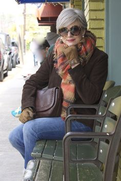 blue jeans and blanket scarves | styleatacertainage