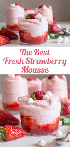 No Cook Desserts, Sweet Desserts, Easy Desserts, Sweet Recipes, Easy Delicious Desserts, Yummy Food, Cup Desserts, Strawberry Dessert Recipes, Recipes With Strawberries