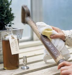 Autumn: Treat wooden handles of all tools. Dab a rag with rich, penetrating linseed oil, which helps keep wood from drying out and breaking. Rub until all wood is covered.