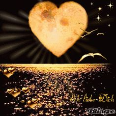 A BIG GOLDEN HEART, THE SEA, AND LITTLE GOLD HEARTS. THE BIRDS ALSO FLY !!!!