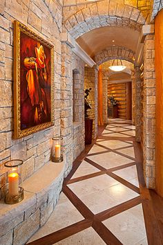 18 Beautiful Rustic Hallway Designs For Your Inspiration Dream Home Design, Home Interior Design, My Dream Home, House Design, Cabin Homes, Log Homes, Italian Marble Flooring, Hallway Designs, My House