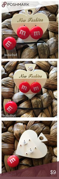 | M&Ms | Earrings & Hair Pin Valentine's Set. 🎀 New adorable red M&Ms Candy earrings studs and hair pin matching set. Beautiful to wear and cute for Valentine's Day out in. Check out some of my other cute sets.🎀 Fast shipping. Bundle more to save. Thank you. Handmade Jewelry Earrings