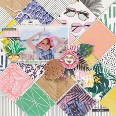 Rather than having one patterned paper as my background, i decided to trim and layer a couple of Baby Scrapbook, Scrapbook Paper Crafts, Scrapbook Cards, Scrapbook Sketches, Scrapbook Page Layouts, Scrapbooking Ideas, Digital Scrapbooking, Beav, Crate Paper