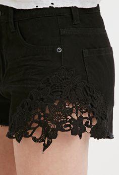 Crochet-Paneled Denim Shorts | Forever 21 - 2000183431