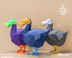 Dodo Low Poly Papercraft Template - PDF Printable Digital Download Dodo is a characterful papercraft sculpture recreating the iconic flightless bird in a contemporary low poly style. Full of character and personality we designed this papercraft sculpture to perfectly capture the