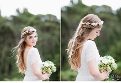 Simple and elegant, this style can be recreated simply by braiding back a small section of hair from each side of the head and then securing the two braids together at the back of the head. Of course, adding a pretty flower headband makes this look perfect for a summer wedding.
