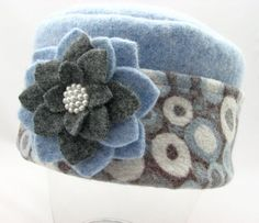 Items similar to Partly Cloudy with a Chance of Snow - Pillbox Style Hat from Upcycled Wool Sweaters on Etsy WOOL FELT Recycled Sweaters, Wool Sweaters, Sewing Crafts, Sewing Projects, Diy Projects, Fleece Projects, Fleece Hats, Wool Hats, Fleece Blankets