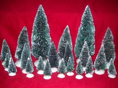 BRAND NEW! LOT OF 21 FLOCKED BOTTLE BRUSH HOLIDAY PINE TREES FOR VILLAGE DISPLAY