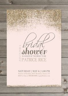 Blush Pink styled with Gold Glitter Bridal Shower invitation.