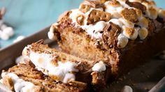 This s'mores banana bread is all about the sticky marshmallow topping. Some graham cracker crumbs were added to the batter too.