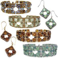Silky Squares Bead Bracelet and Earrings Pattern by Deborah Roberti at Bead-Patterns.com