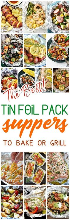The Best Tin Foil Pack Suppers Recipes to Bake or Grill - Easy meal prep and easy cleanup! delicious chicken, beef, salmon, pork, shrimp and chicken tin foil packet dinners you and your family can enj (Foil Grilling Recipes) Tin Foil Dinners, Foil Packet Dinners, Foil Pack Meals, Foil Packets, Hobo Dinners, Healthy Grilling Recipes, Cooking Recipes, Healthy Meals, Grilled Recipes