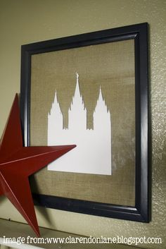Use cricut to cut out temple silhouette to put on top of burlap.