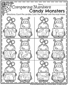 Kindergarten Math and Literacy Printables - October - School Stuff - Kindergarten Math Activities, Numbers Kindergarten, Kindergarten Classroom, Fun Math, Teaching Math, Preschool Activities, Classroom Ideas, Alphabet Activities, Math Games