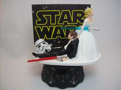 Star Wars Stormtrooper Bride and Groom Funny Wedding Cake Topper Jedi Sith Lightsaber Awesome Groom's Cake by mikeg1968 on Etsy https://www.etsy.com/listing/236749189/star-wars-stormtrooper-bride-and-groom