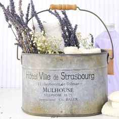French-Inspired Tin Caddy With the Scent of Lavender, Such As Lavender Soap & Dried Bouquet