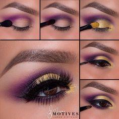Purple gold eye makeup #tutorial #evatornadoblog