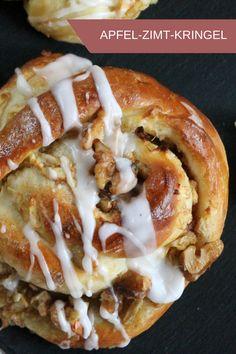 Pura felicidad otoñal: nudos de manzana y canela - Receta de garabato de manzana y canela: galletas de masa de levadura con sabor a manzana particularm -
