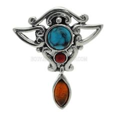 Buy now at www.bodyjewelleryshop.com -  Silver Reverse Belly Bar - Turquoise, Coral & Amber. We have the largest variety of bananabells you'll find! #bananabell #piercings #bodyjewellery @piercedfashion