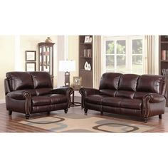 Abbyson Madison Top Grain Leather Pushback Reclining 2 Piece Living Room Set   Overstock.com Shopping - The Best Deals on Sofas & Loveseats