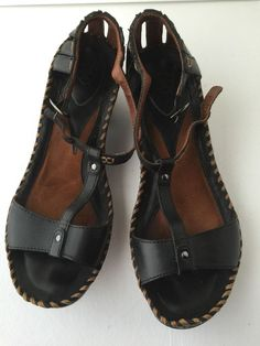 ARIAT SHALIMAR Leather Gladiator Sandals Shoes Black Ankle Strap Size 9B $145 #Ariat #Gladiator #Casual