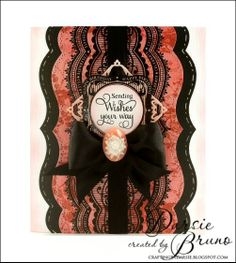 card created using @Marsha Grove Papercraft, Inc. Celebrations Labels One with @Spellbinders A2 Bracket Borders One