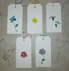 Flower tags quilling tags unique tags gift tags by FunWithWreaths, $5.50