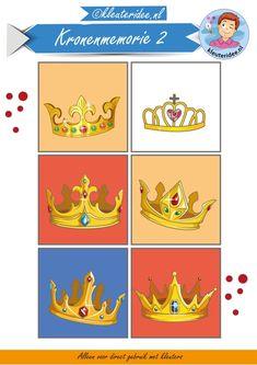 Kronenmemorie bij thema koningsdag 2, kleuteridee,  Crownmemory free printable.