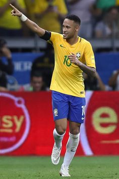 Neymar of Brazil celebrates a scored goal against Argentina during a match between Brazil and Argentina as part of 2018 FIFA World Cup Russia Qualifier at Mineirao stadium on November 10, 2016 in Belo Horizonte, Brazil.