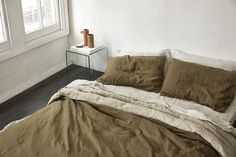 olive/natural duvet cover