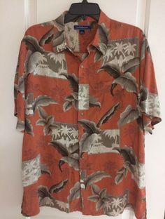 Mens Croft And Barrow Hawaiian Woody Car Button Up Pocket Shirt Size Large #CroftBarrow #Hawaiian