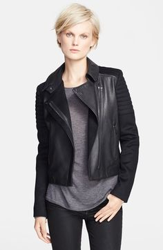 Vince Quilted Contrast Leather Jacket