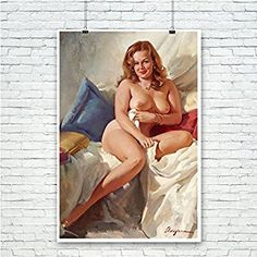 Amazon.com: Vintage Pin-Up Poster Print Nude Portrait - By Gil Elvgren: Posters & Prints