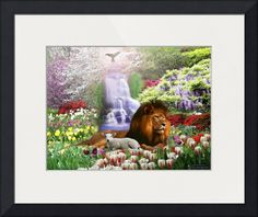 """""""The Lion and the Lamb"""" by Barry Barnes Framed Wall Art, Wall Art Prints, Types Of Angels, Isaiah 11, The Falling Man, Before The Fall, Garden Of Eden, Buy Prints, Heavens"""