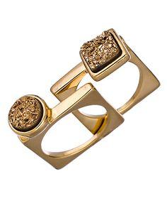 Claudia Lobao Gold Druzy Geometric Stacking Rings