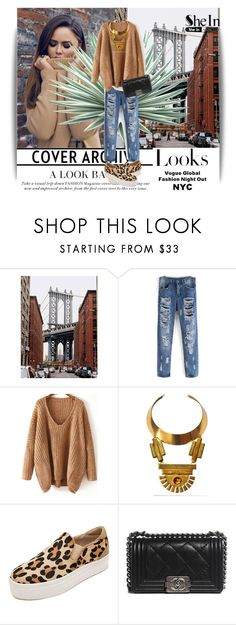 """V Neck Sweater/Shein contest"" by dinna-mehic ❤ liked on Polyvore featuring MML, Agave, Bita Pourtavoosi, Chanel and Sheinside"