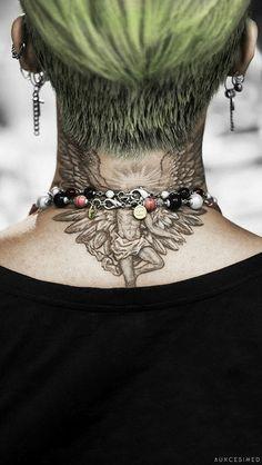 G dragon (BigBang) Tattoo Nape, Gd Tattoo, Tattoo 2017, Neck Tattoos, Tatoos, Dragon Tattoo Artist, G Dragon Tattoo, Daesung, Vip Bigbang