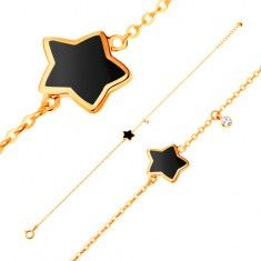 Bracelet made of yellow 14K gold, pendant - star with black glaze, zircon
