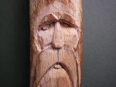 Wood Spirit Carving Tutorial (very pic heavy) Wood Carving Faces, Dremel Wood Carving, Wood Carving Patterns, Carving Designs, Carving Tools, Wood Carvings, Whittling Projects, Whittling Wood, Wooden Walking Sticks