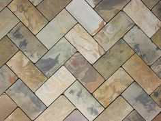 Cashmere Gold Slate tumbled herringbone tile | The CleftStone Works. LOVE THIS.