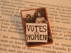Feminist brooch Suffragette protestors Votes for Women Feminist lapel pin by SarahWoodJewelry on Etsy https://www.etsy.com/ca/listing/213393967/feminist-brooch-suffragette-protestors