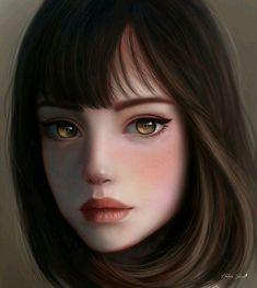 Cute Girl Drawing, Cartoon Girl Drawing, Girl Cartoon, Digital Art Girl, Digital Portrait, Portrait Art, Foto Fantasy, Fantasy Girl, Art Sketches